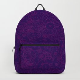Clockwork PURPLE DREAM / Cogs and clockwork parts lineart pattern Backpack