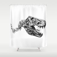 trex Shower Curtains featuring Jurassic Bloom - The Rex.  by Sinpiggyhead