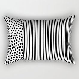 Black and White Dots and Stripes Rectangular Pillow