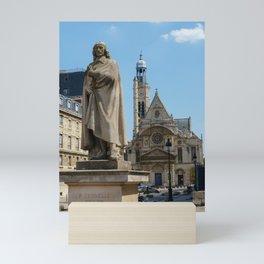 Pierre Corneille statue and Saint-etienne-du-mont church - Paris, France Mini Art Print