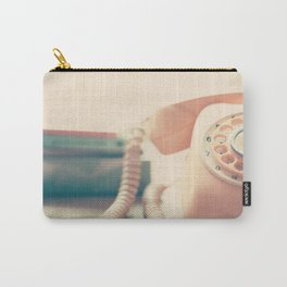 Close up Pink Retro Telephone Carry-All Pouch