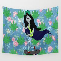 marceline Wall Tapestries featuring Marceline, The Pothead Queen by earthy scorpio