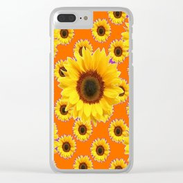 Purple-Orange Patterns Yellow Sunflowers Abstract Art Clear iPhone Case