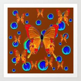 ORANGE BUTTERFLIES BLUE PEACOCK EYES ON CHOCOLATE Art Print