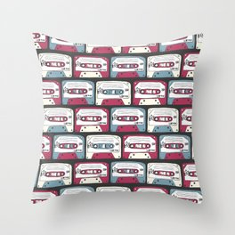 Seamless pattern of retro cassettes. rock music  Throw Pillow
