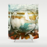 fifth harmony Shower Curtains featuring Harmony by SpaceFrogDesigns