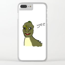 the crappy yee dinosaur which i drew on ms paint with a mouse Clear iPhone Case