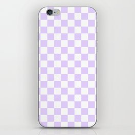 Large Chalky Pale Lilac Pastel Color and White Checkerboard iPhone Skin