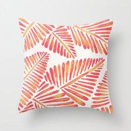 Tropical Banana Leaves – Pink & Peach Ombré Palette Throw Pillow