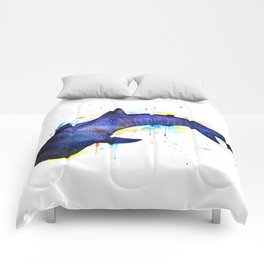 Whale shark, watercolour Comforters