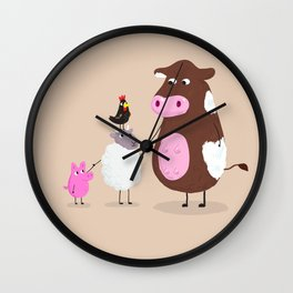 We Farm Animals Should Stick Together Wall Clock