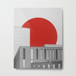 Geometry in Architecture / Red Circle Metal Print