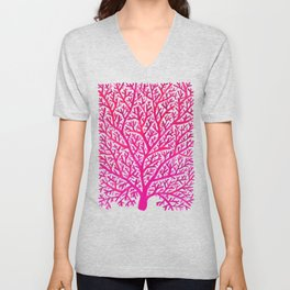 Fan Coral – Pink Ombré Unisex V-Neck