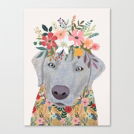 Silver Labrador with Flowers Canvas Print