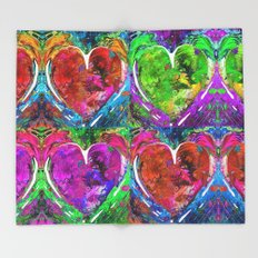 Colorful Pop Hearts Love Art By Sharon Cummings Throw Blanket