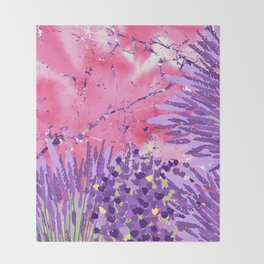 Modern violet lime green lavender pink marble floral Throw Blanket