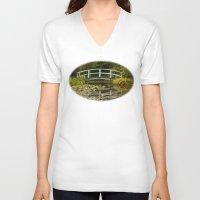 monet V-neck T-shirts featuring Monet Bridge Reflected by Wealie