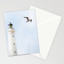 Lighthouse blue sky sea eagle summer Stationery Cards