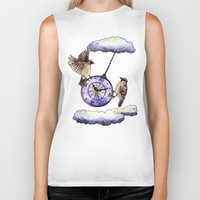 clock Biker Tanks featuring Clock by Anna Shell