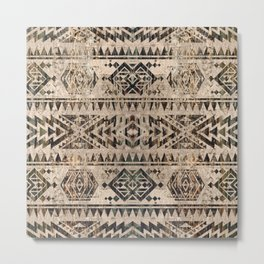Ethnic Geometric Bark and Wood texture pattern Metal Print