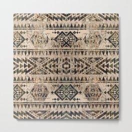 Ethnic Geometric Bark and Wood texture pattern Metal Print