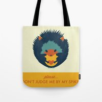 hedgehog Tote Bags featuring Hedgehog by Ariel Wilson