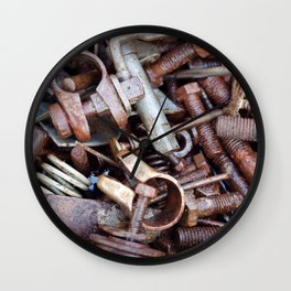 old rustry screw,nuts and bolt Wall Clock