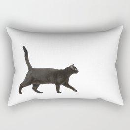 Black cat walking Rectangular Pillow