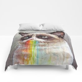 Cat Tastes the Grumpy Rainbow Comforters
