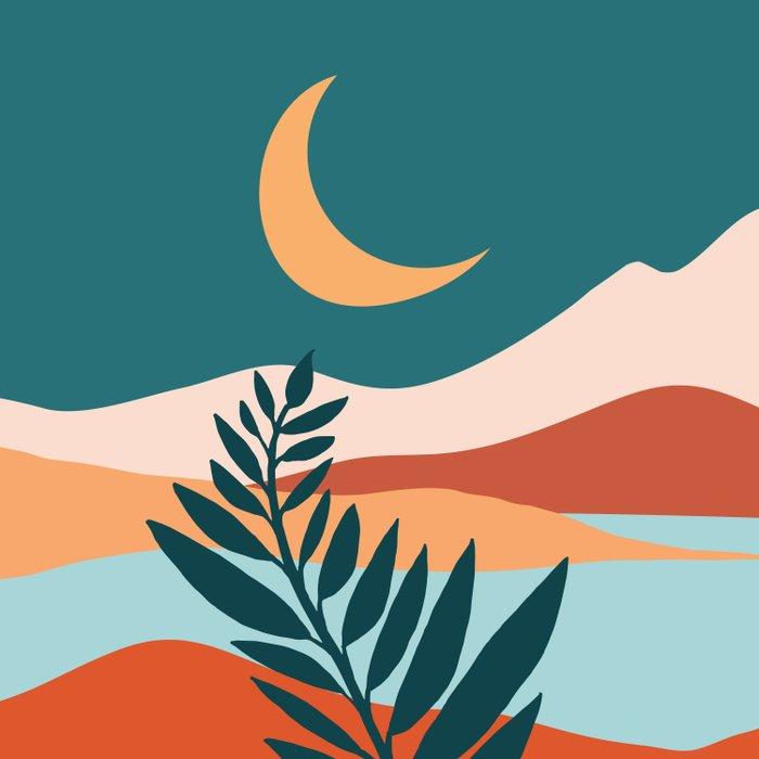 Moonlit Mediterranean / Maximal Mountain Landscape Duvet Cover