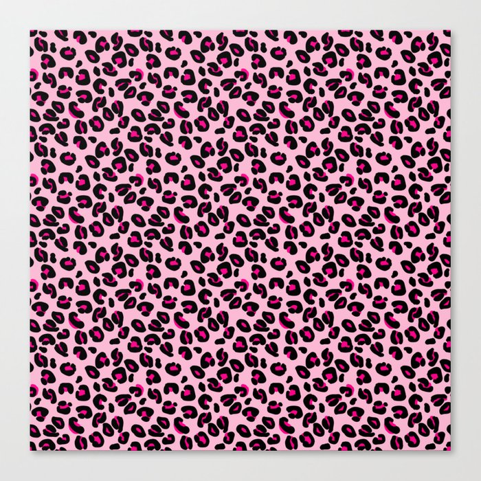 95c2c0bfe2a Cotton Candy Pink and Black Leopard Spots Animal Print Pattern Canvas Print  by podartist