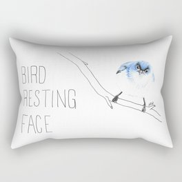 Bird Resting Face (Blue-gray Mountains) Rectangular Pillow