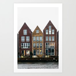 Iconic canal houses near Spaarne river in Haarlem in winter III | Haarlem historical city, the Netherlands | Urban travel photography Art Print Art Print