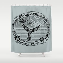 Vintage Lahaina Please Whales Tail Motif Shower Curtain