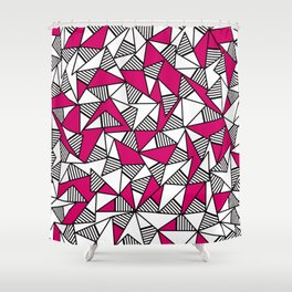 Girly Black, White, and Pink Striped Triangles Shower Curtain