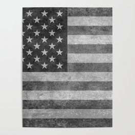 American flag - retro style in grayscale Poster