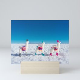 Llamas on the Bolivia Salt Flats Mini Art Print