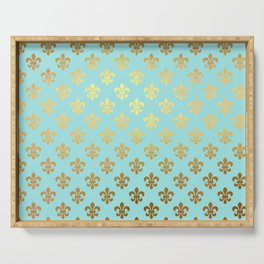 Royal gold ornaments on aqua turquoise background Serving Tray