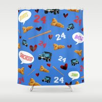 stiles stilinski Shower Curtains featuring Stilinski Love Pattern by miszxbrii