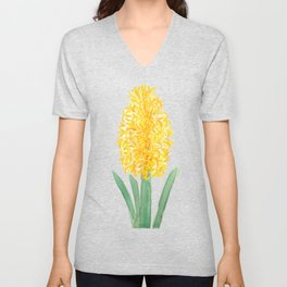 yellow hyacinth watercolor Unisex V-Neck