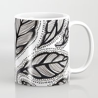 alisa burke Mugs featuring black and white leaves by Alisa Burke