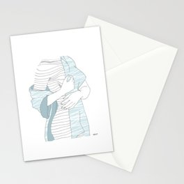 line drawing of a beautiful model Stationery Cards