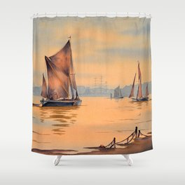 Thames Barges At Greenwich London Shower Curtain