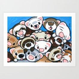 16 Ferrets Art Print