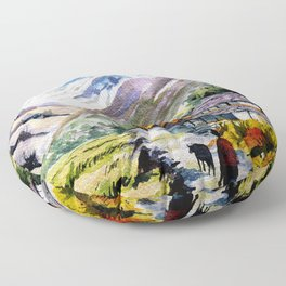 Long Walk By The Mountain Floor Pillow