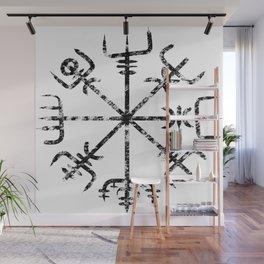Vegvísir - Ancient  Icelandic Compass [Black   Distressed] Wall Mural