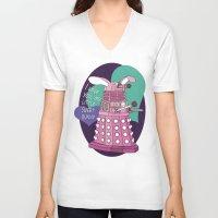 dalek V-neck T-shirts featuring Dalek-bunny by Reniva