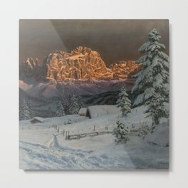 Winter Sunset After Snowfall in the Italian Alps landscape painting Metal Print