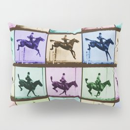 Time Lapse Motion Study Horse And Rider Color Pillow Sham