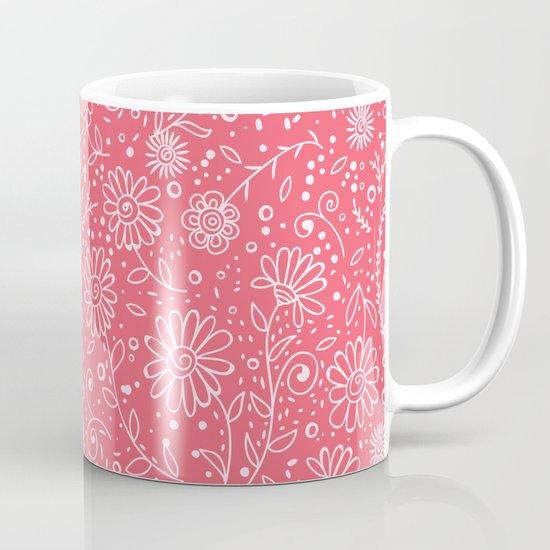 Red doodle floral pattern Coffee Mug